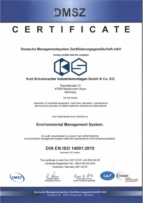 Zertifikat Umweltmanagement Environmental Management System