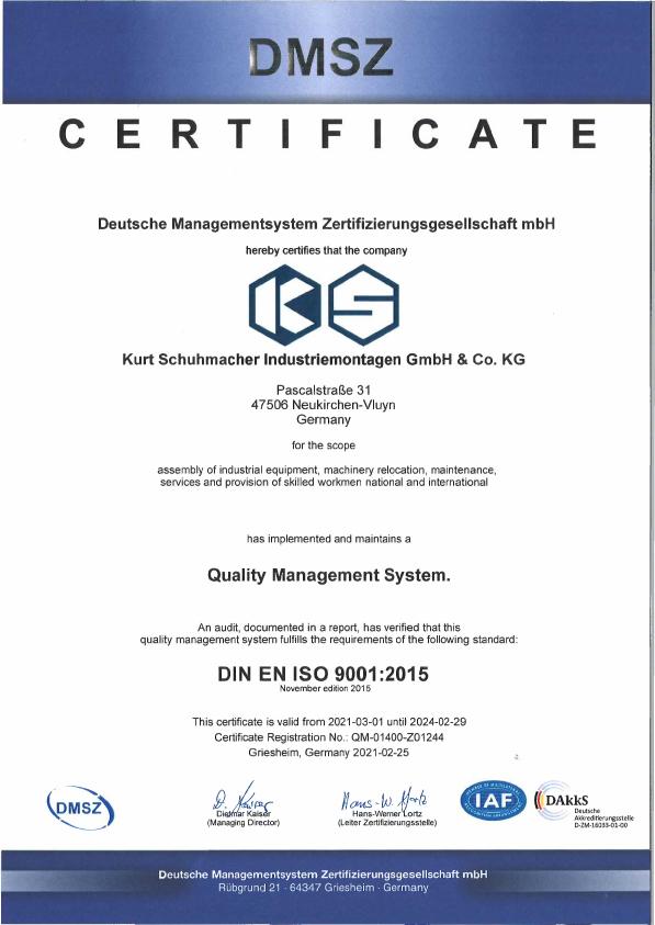 certificat Quality Management System