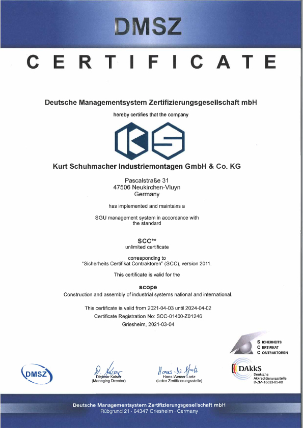 Certificate Construction and assembly of industrial systems national and international